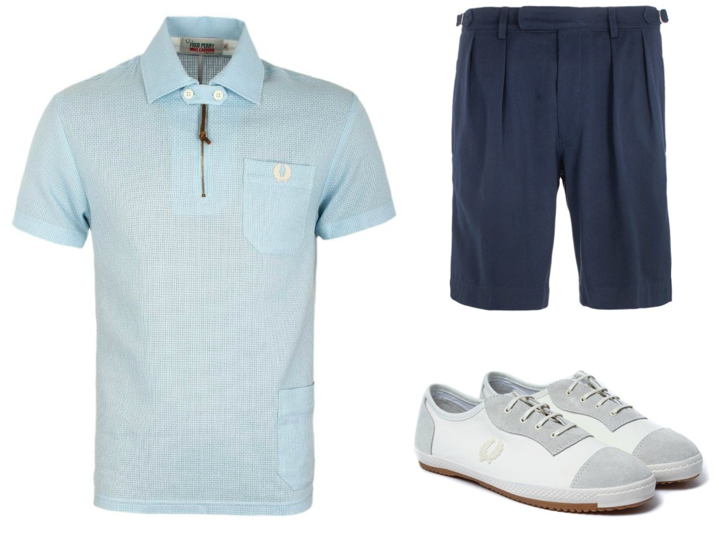 Fred Perry Sky Blue Polo, Blue Shorts and White and Grey Trainers