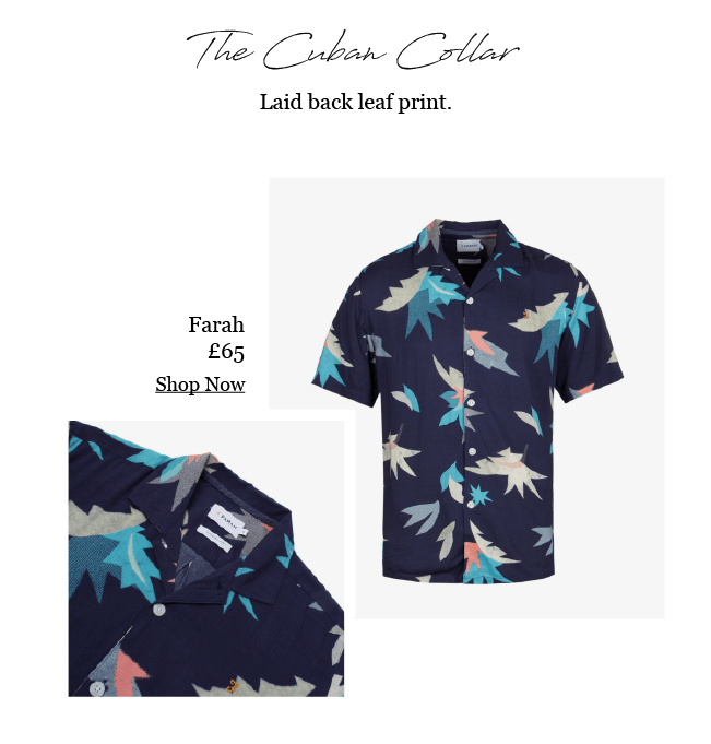 FARAH LEAF PRINT NAVY SHIRT