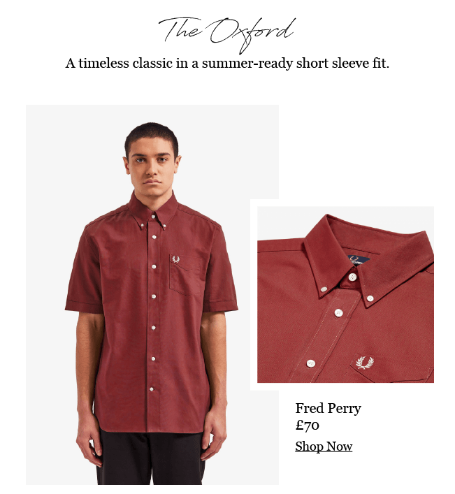 FRED PERRY CLASSIC SHORT SLEEVE BURGUNDY OXFORD SHIRT