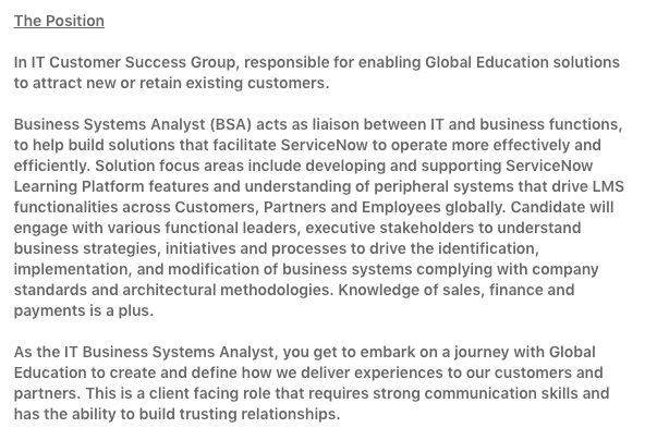 Here's how to write a business systems job description.