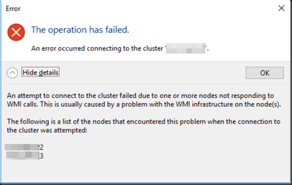 An error occurred connecting to the cluster - Working Hard In