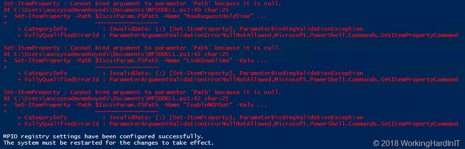 Dell SC Series MPIO Registry Settings script - Working Hard