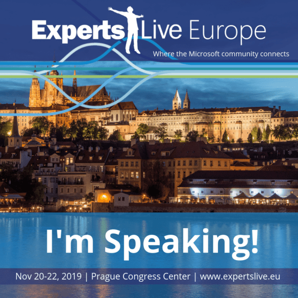 I am speaking at Experts Live Europe 2019