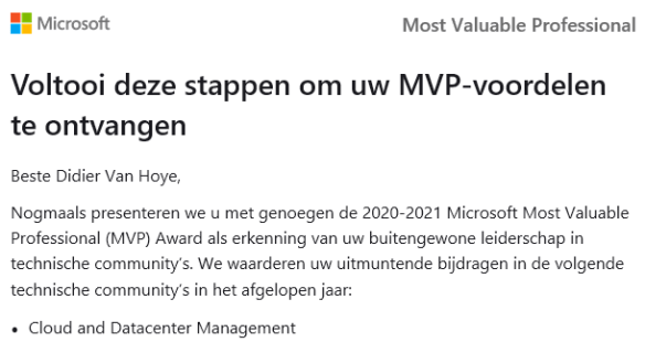 I received the Microsoft MVP Award 2020