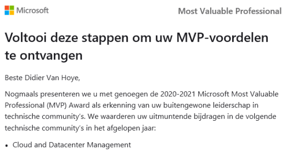 I received the Microsoft MVP Award 2020