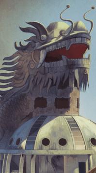 Dragon Head Statue over Building