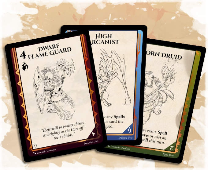 Worldbuilding games - Three cards from Fray, a game from the World of Adia by Smunchy Games