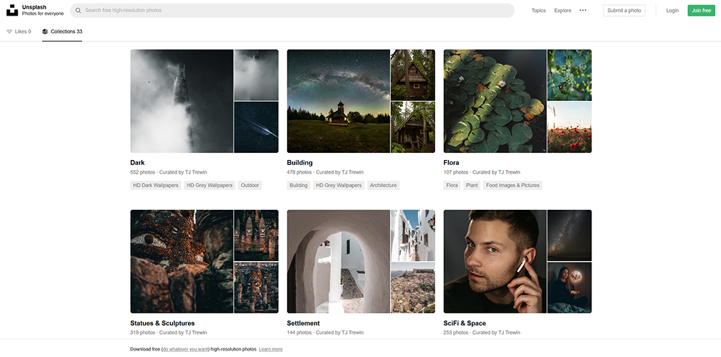 Unsplash website screenshot