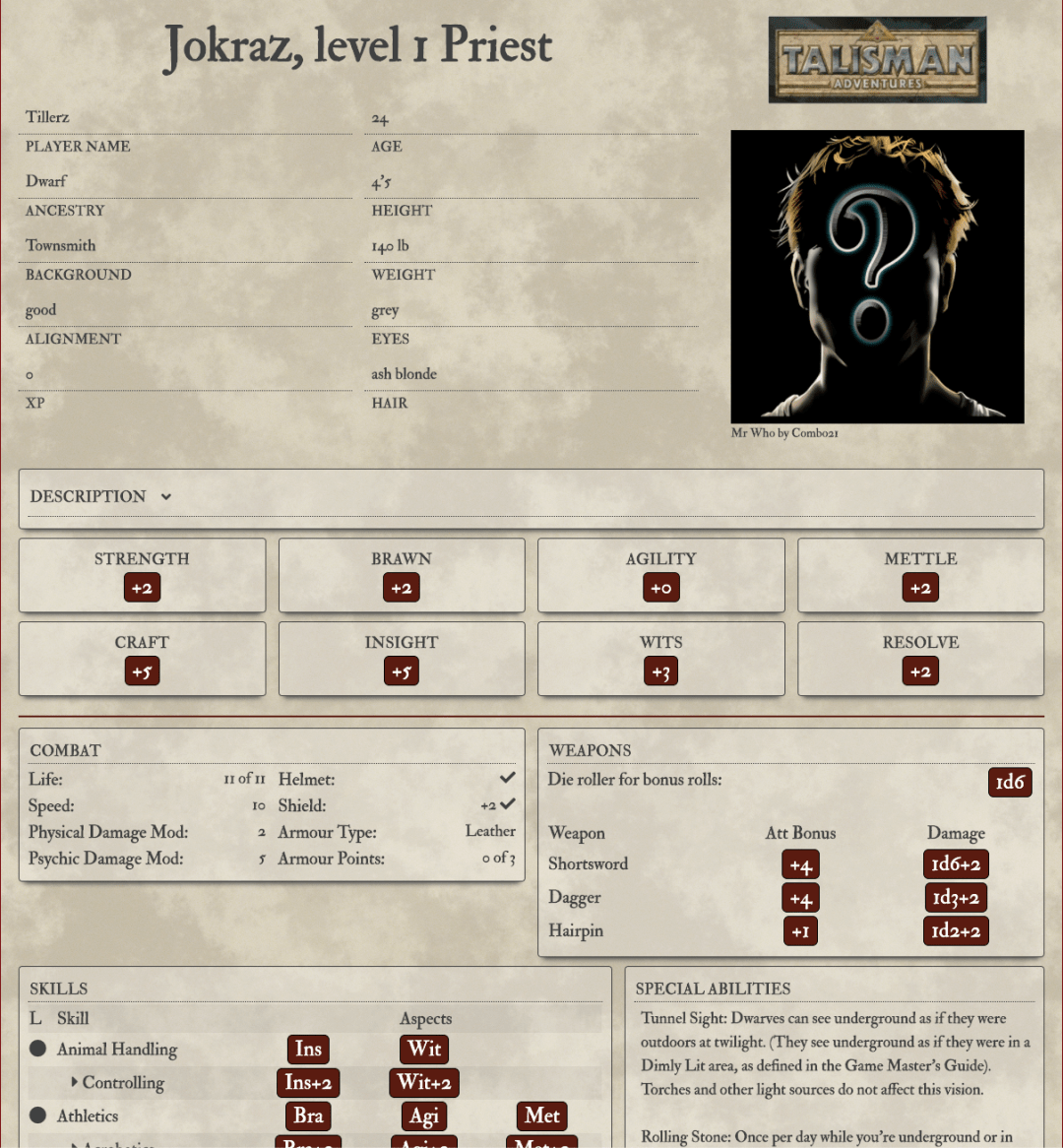 Talisman Adventures RPG  character sheet on World Anvil