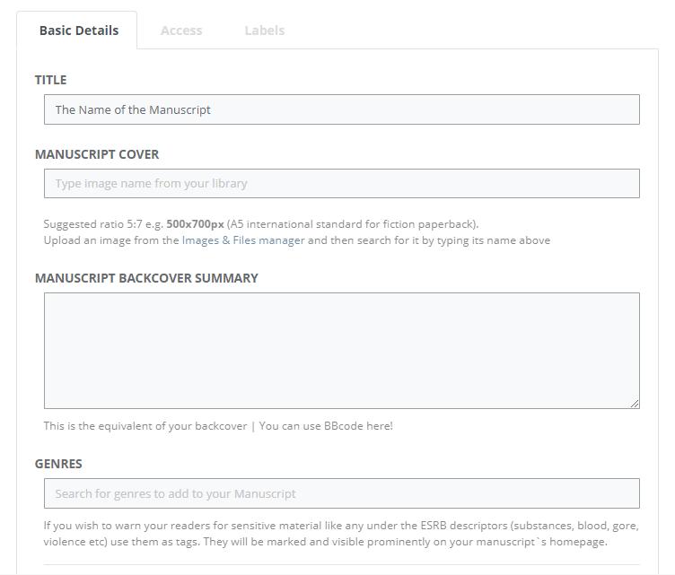 Basic settings of our Novel Writing Software