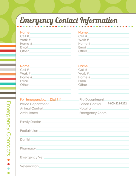 kids emergency contact sheet editable ms word template word and – Contact Information Form Template