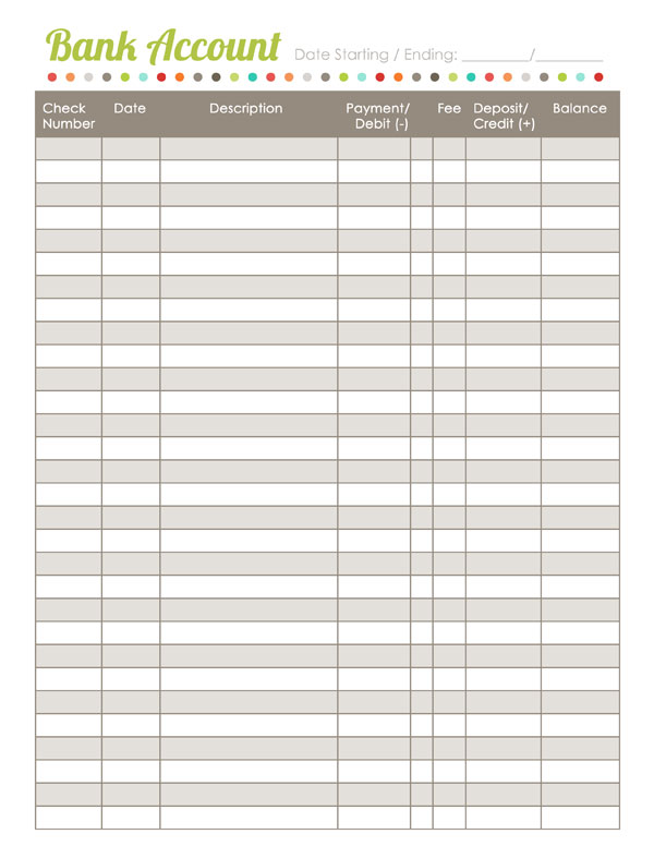 It is a picture of Banking Register Printable pertaining to free printable check