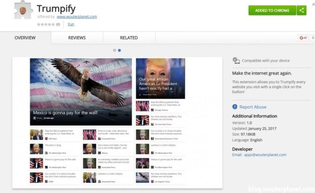 trumpify in de chrome store