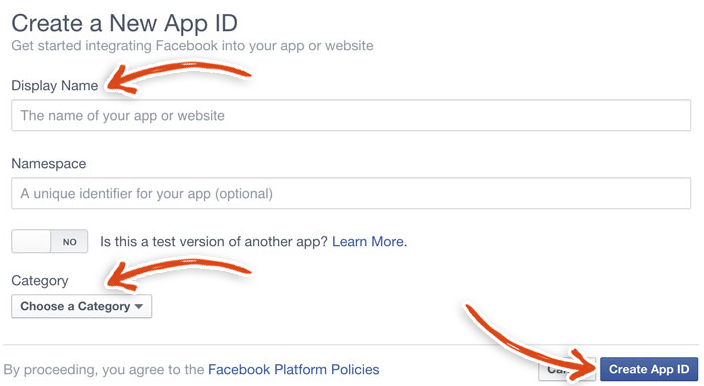 Create a Facebook App ID