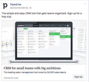 CRM Ad Example From Pipedrive