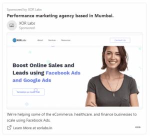 XOR Labs Ad example on Quora