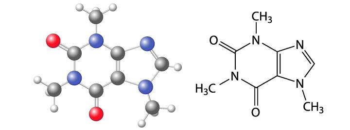 Fórmula química de la cafeína