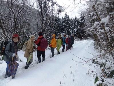 雪道をラッセル