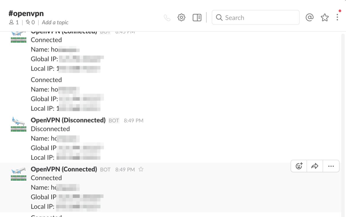 OpenVPN の接続・切断時に Slack に通知する