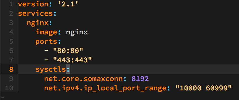 Docker Compose でカーネルパラメータを設定する