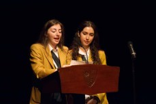 At the Forum Assembly, with Head Girl Maggie