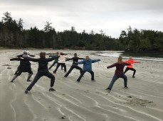 Yoga on the beach led by Ms. Matthews