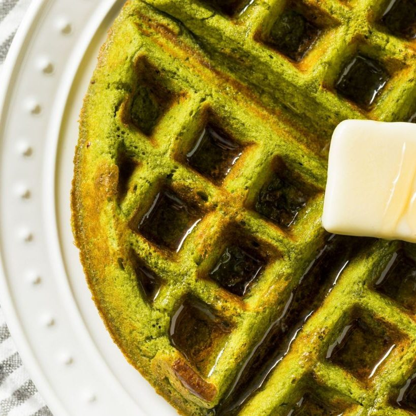 Matcha waffle with butter