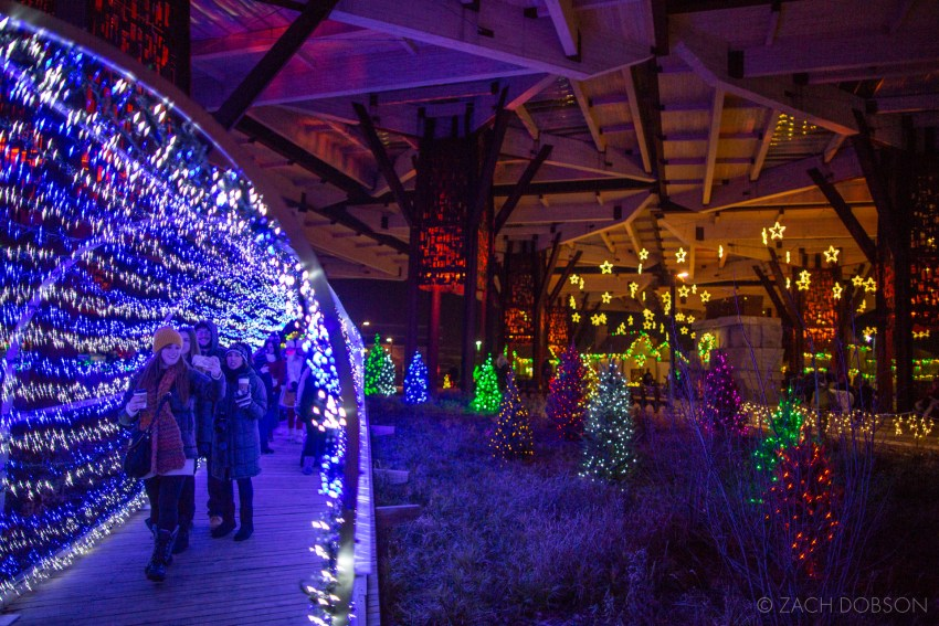 Tunnel of Lights and Santa's Village at Christmas at the Zoo in Indianapolis, Indiana.