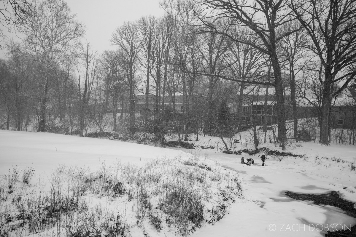snow photography frozen creek winter midwest indiana