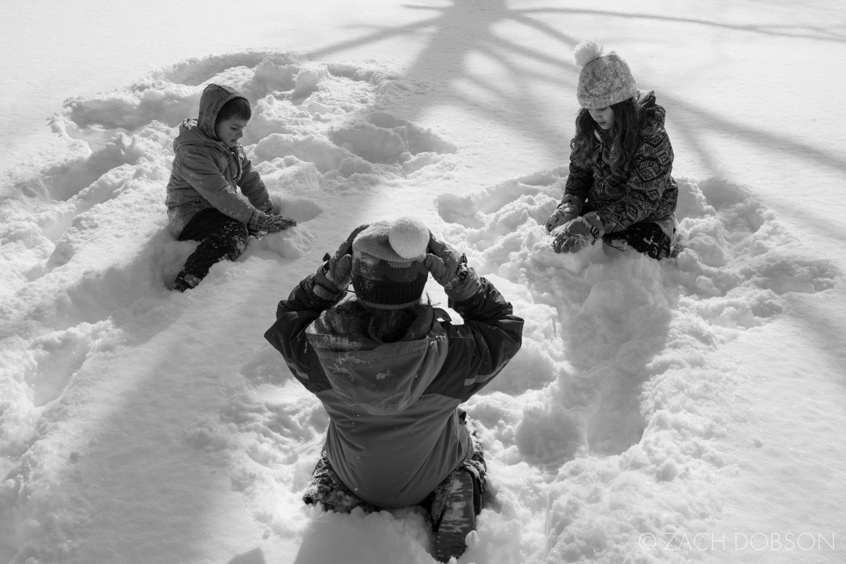 snow play in front yard