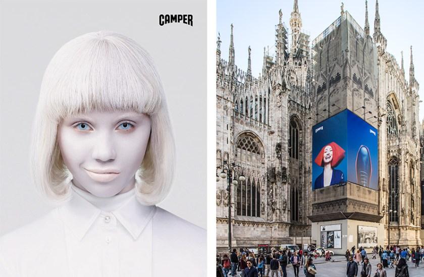 Publicidad de Camper en el exterior del Duomo en Milán