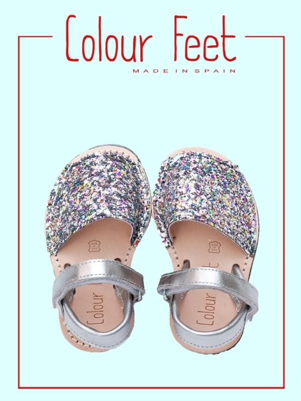 Menorquinas con glitter para niñas.