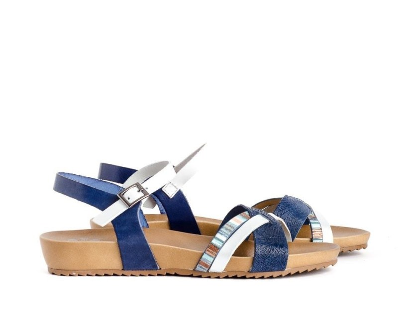Sandalias planas de tiras blancas y azules cómodas Porronet 2424
