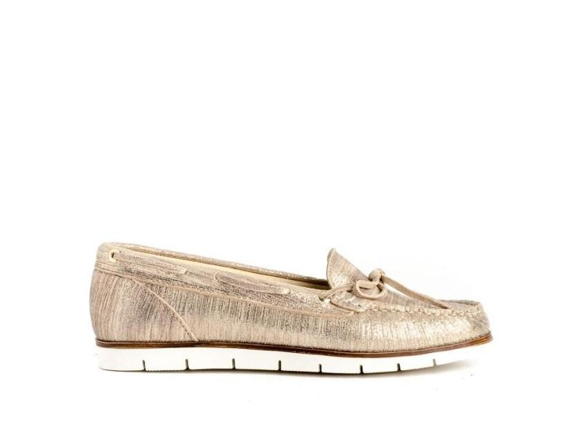 zapatos casual dorados para señora