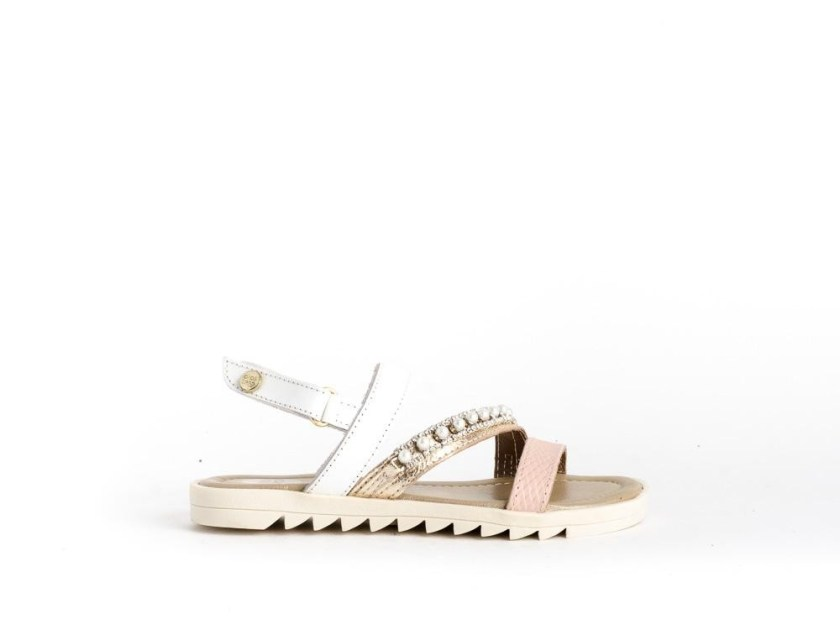 sandalias para niñas baratas color plata y rosa con abalorios