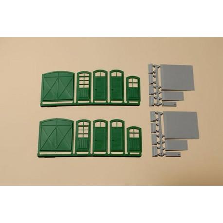 Puertas, ventanas, escalones y ramas, varias medidas, 22 piezas, Marca Auhagen, Ref: 80250.