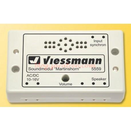 Viessmann - Módulo efecto de sonido de bomberos y ambulancia,Tiene la posibilidad de 7 efectos diferentes de sonidos de emergencia y control de volumen. Ref: 5559.