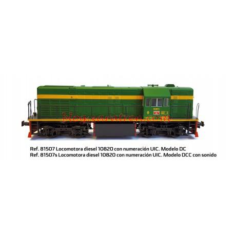 Mabar - Locomotora diesel RENFE 10825, Sin Numeración UIC, Verde oscuro, Escala H0, Serie limitada 200 unidades. Marca Mabar: Digital con Sonido Ref: 81508S -Analógico/Digital Ref: 81508 -Digital con Sonido Ref: 81507S. Portes gratis.