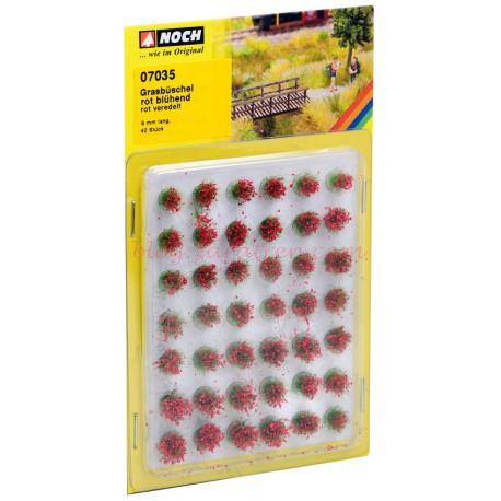 Noch - Matojos de hierba, plantas campestres, 42 piezas, 6 mm de altura, color Rojo., Ref: 07035.