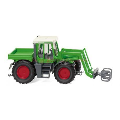 Wiking - Tractor Fendt Xylon mit Ballengreifer, Color verde, Escala H0, Ref: 038003