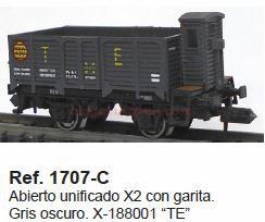 Ktrain - Novedades Noviembre 2018, Vagone Abierto borde alto con garita X, Ref. 1707-A, Ref. 1707-B, Ref. 1707-C y Ref. 1707-D