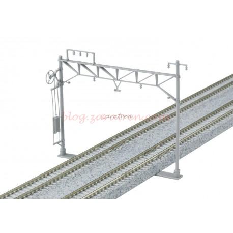 Kato - Juego de 10 postes de catenaria dobles, muy fáciles de montar, escala N, Ref: 23-061