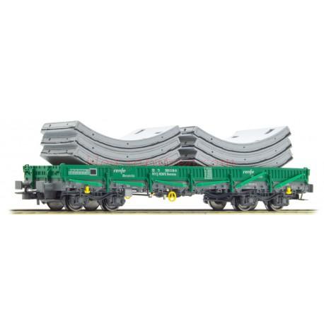 Electrotren - Vagón de Bogies tipo Rmmns, Verde-Gris, Con carga de Segmentos de túneles prefabricados, Escala H0., Ref: E6542.