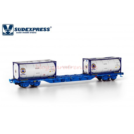Sudexpress - Vagón portacontenedores Intermodal Renfe, tipo Sgnss, Color Azul, Interbulk, Escala H0, Ref: SURE04517