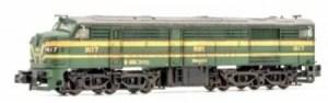 Arnold - Locomotora Diesel 316-017-3, RENFE, Color verde, Analogica, ENVEJECIDA, Epoca IV, Ref: HN2410W.