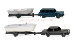 Wiking - Dos coches con remolques de barcas, Escala N, Ref: 092139.