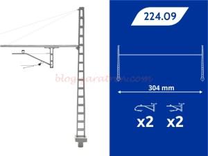 8Train - Portico Rigido Renfe, CR-160, cuatro mensulas, 304 mm, Escala H0, Ref: 224.09.