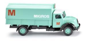 """Wiking - Camión plataforma Magirus Sirius, """" Migros """", Epoca IV, Escala H0, Ref: 042602."""