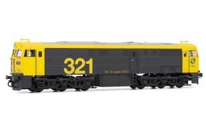 Electrotren - Loc. Diesel Renfe 321.025, Colores Taxi, ENVEJECIDA, Escala H0. Ref: E3119E.