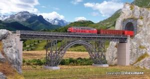 Kibri - Viaducto de viga de acero Mungstertal, via unica, Kit para montar, Escala H0, Ref: 39704.